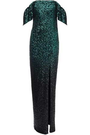 Marchesa Notte Off-the-shoulder Sequined Long Dress