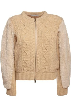 Stella McCartney Faux Fur & Wool Knit Bomber Jacket