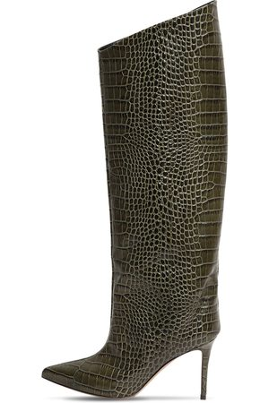 ALEXANDRE VAUTHIER 90mm Croc Embossed Leather Tall Boots