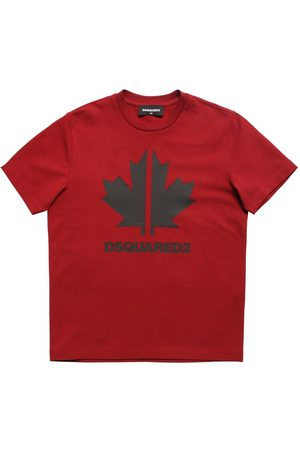 Dsquared2 Boys T-shirts - Leaf Printed Cotton Jersey T-shirt