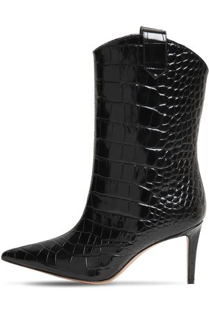 ALEXANDRE VAUTHIER 80mm Croc Embossed Leather Ankle Boot