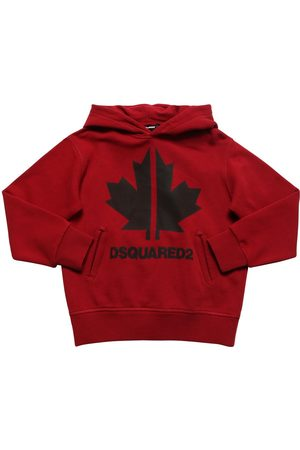Dsquared2 Boys Hoodies - Leaf Printed Cotton Sweatshirt Hoodie