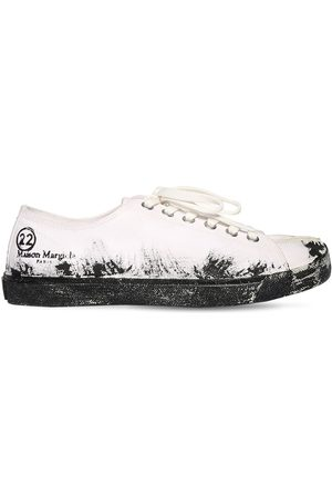 Maison Margiela Low Top Painted Canvas Tabi Sneakers