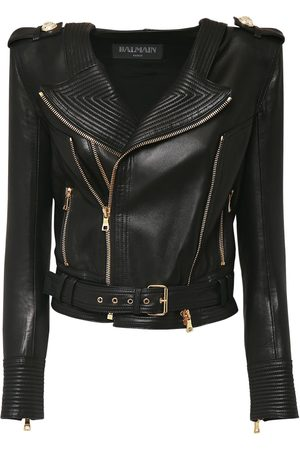 Balmain Crop Leather Biker Jacket