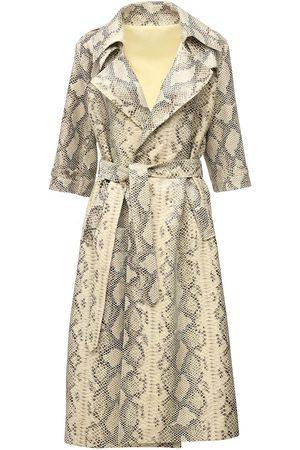 Zeynep Arcay Oversize Snake Print Leather Trench Coat