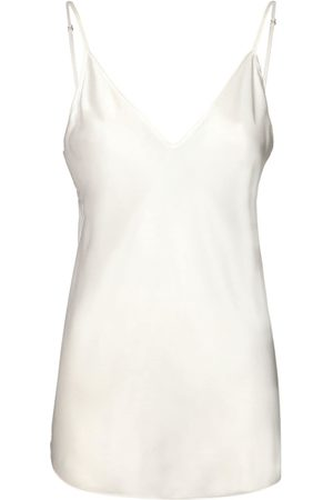 Max Mara Women Camisoles - V Neck Stretch Silk Satin Tank Top