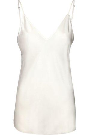 Max Mara Women Camisoles - V Neck Stretch Silk Satin Tank Top