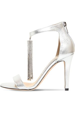 Jimmy Choo 100mm Viola Metallic Leather Sandals