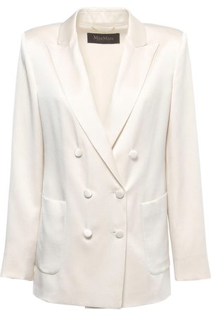 Max Mara Double Breasted Satin Crepe Blazer