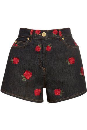 VERSACE Embroidered Cotton Denim Shorts