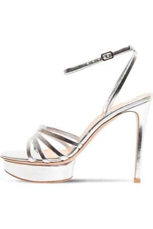 Gianvito Rossi 85mm Metallic Leather Platform Sandals