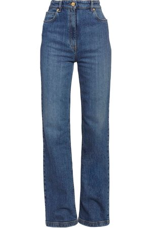 VERSACE High Waist Cotton Flared Jeans