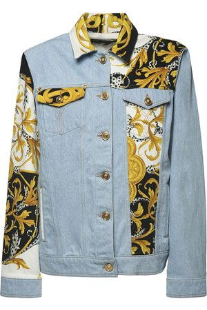 VERSACE Cotton Denim Jacket W/ Printed Inserts