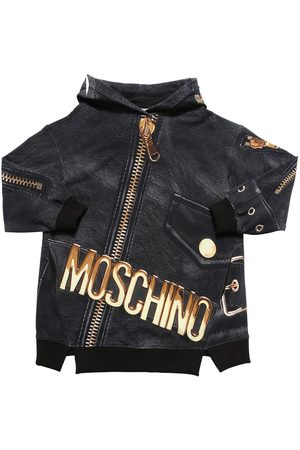 Moschino Girls Printed Dresses - All Over Print Sweat Dress Hoodie