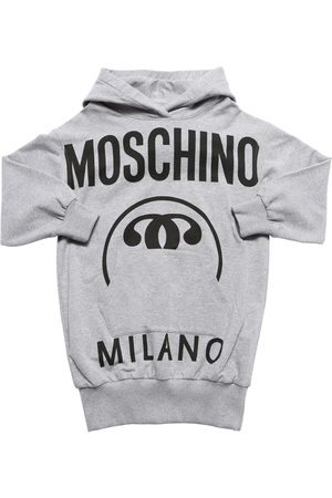 Moschino Girls Printed Dresses - Logo Print Cotton Sweat Dress Hoodie