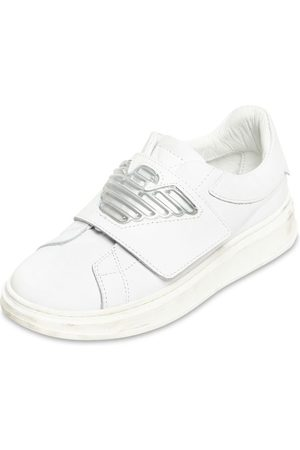 Emporio Armani Boys Sneakers - Leather Strap Sneakers
