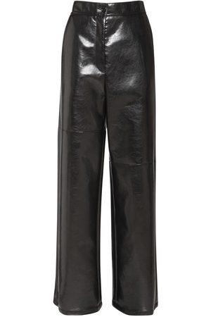 MM6 MAISON MARGIELA Women Leather Pants - Faux Patent Leather Wide Leg Pants
