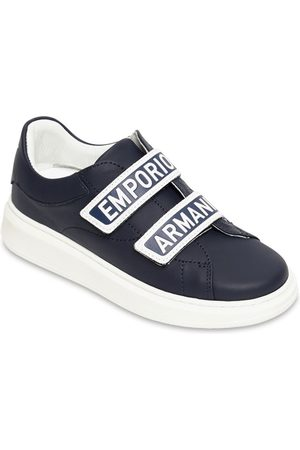Emporio Armani Logo Print Leather Strap Sneakers