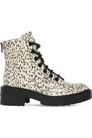 Kenzo 50mm Snake Printed Leather Combat Boots
