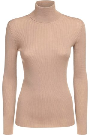 Max Mara Light Wool Rib Knit Turtleneck Sweater