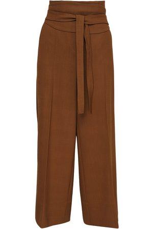 Max Mara Belted Wool Crepe Crop Pants