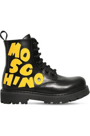 Moschino Leather Boots W/ Logo Patch