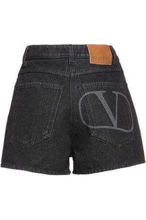 VALENTINO Go Logo Printed Cotton Denim Shorts