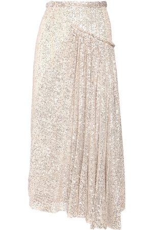 Rochas Asymmetric Sequined Midi Skirt