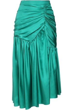 Rochas Draped Silk Twill Midi Skirt