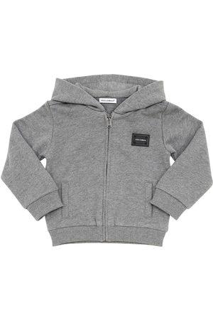 Dolce & Gabbana Girls Hoodies - Logo Tag Cotton Sweatshirt Hoodie