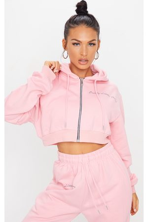 PRETTYLITTLETHING Candy Cropped Embroidered Zip Hoodie