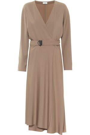 Brunello Cucinelli Asymmetric stretch-wool midi dress