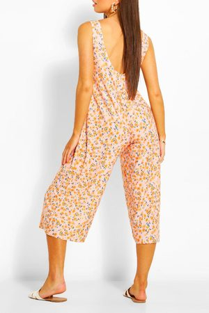 Boohoo Womens Floral Print Scoop Back Culotte Jumpsuit - - 2