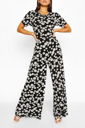 Boohoo Womens Daisy Print Puff Sleeve Wide Leg Jumpsuit - - 4