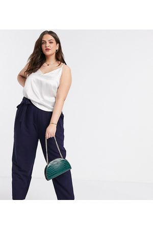 ASOS ASOS DESIGN Curve tailored tie waist tapered ankle grazer pants-Navy