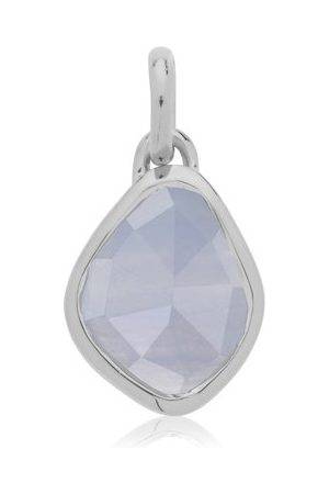 Monica Vinader Women Necklaces - Sterling Silver Siren Small Nugget Pendant Charm Blue Lace Agate