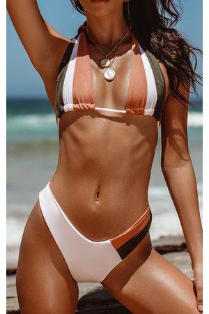 PRETTYLITTLETHING Women Bikinis - Khaki Tri Colour High Leg Bikini Bottom