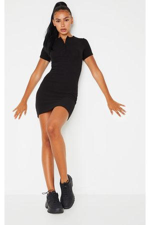 PRETTYLITTLETHING Brushed Rib Short Sleeve Button Front Bodycon Dress