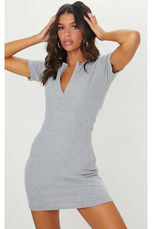 PRETTYLITTLETHING Grey Marl Brushed Rib Short Sleeve Button Front Bodycon Dress