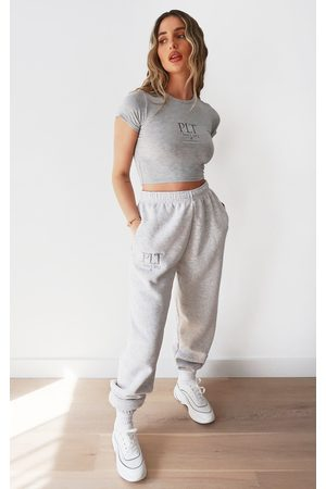 PRETTYLITTLETHING Ash Grey Established Slogan Casual Joggers