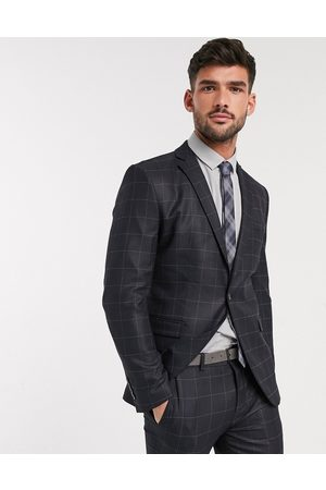 Selected Skinny fit stretch suit jacket in check