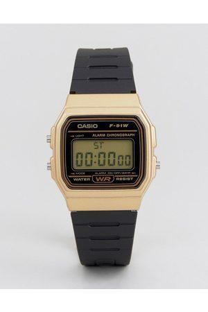 Casio Watches - F91WM-9A digital silicone strap watch in /gold