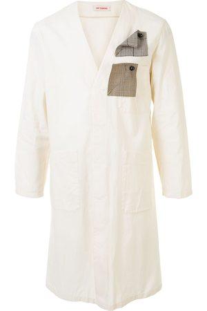 RAF SIMONS V-neck long sleeve lab coat - Neutrals