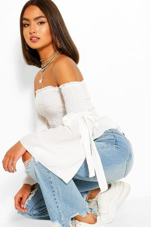Boohoo Womens Woven Shirred Flared Sleeve Off The Shoulder Top - - 2