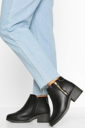 Boohoo Womens Wide Width Zip Side Chelsea Boots - - 5