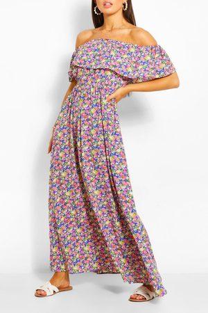 Boohoo Womens Off The Shoulder Floral Maxi Dress - - 8