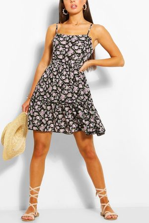 Boohoo Womens Floral Print Strappy Tiered Swing Dress - - 6