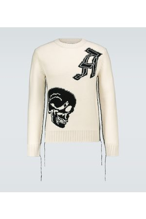 Alexander McQueen Wool jacquard patched skull sweater