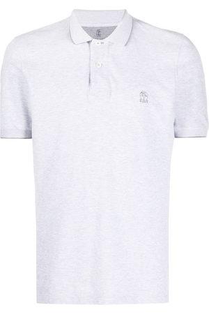 Brunello Cucinelli Embroidered logo polo shirt - Grey