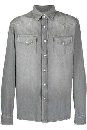 Brunello Cucinelli Men Denim - Bleached-effect denim shirt - Grey
